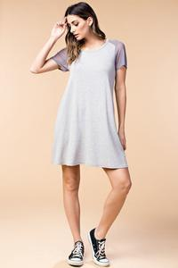 Mesh sleeve and yoke jersey dress - by Kori America - available at rkcollections.myshopify.com -  - Dress