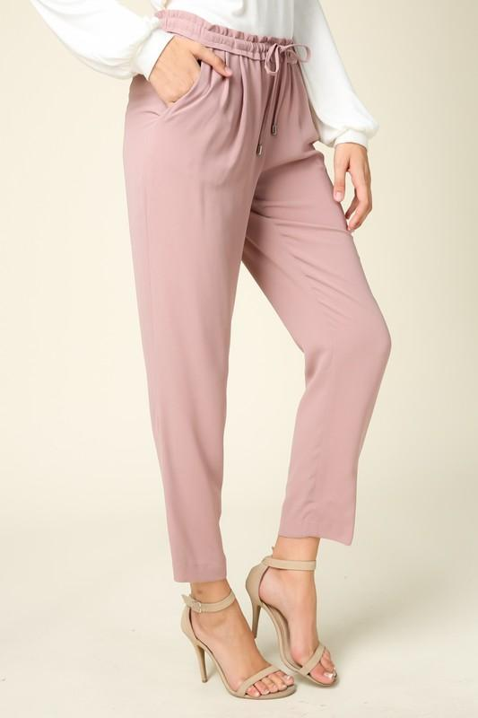 Mid Rise Ankle Pant with Drawstring - by Coverstitch - available at rkcollections.myshopify.com -  - Pants