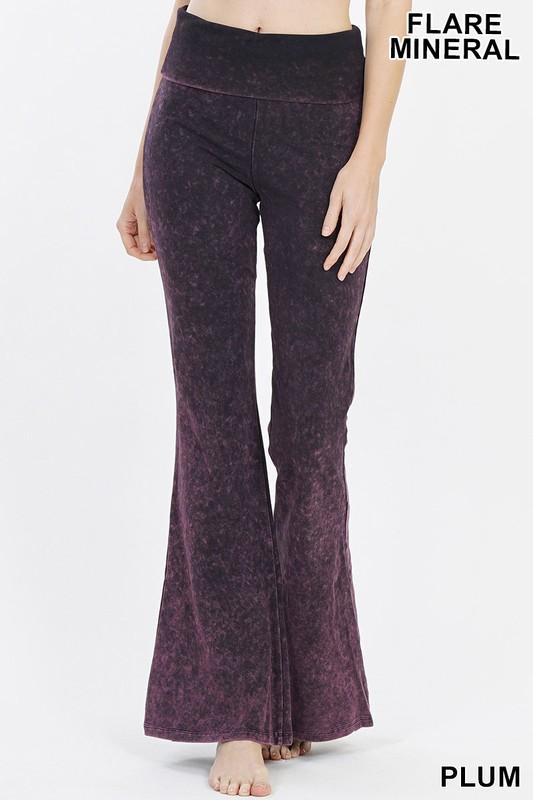 Mineral Washed Flared Yoga Pants - by Zenana - available at rkcollections.myshopify.com - Plum / XL - Pants