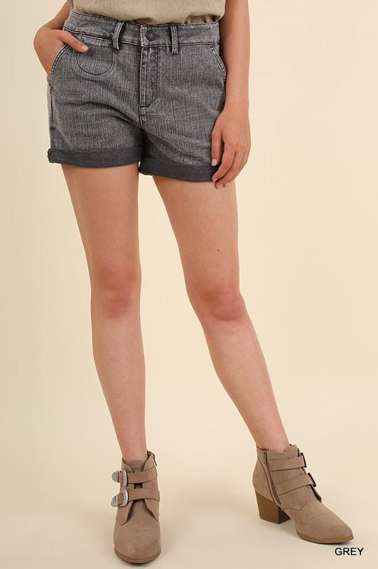Mineral Washed Zipper Front Shorts - by Umgee - available at rkcollections.myshopify.com -  - Shorts