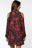 mock neck cold shoulder floral dress - by Everly - available at rkcollections.myshopify.com -  - Dress-Cold Shoulder