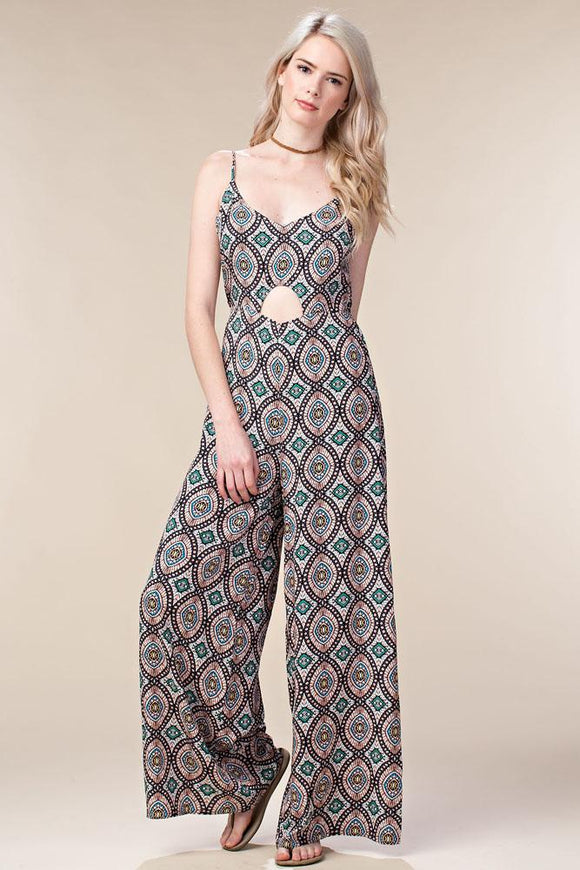 Mosaic print keyhole jumpsuit - by Chloah - available at rkcollections.myshopify.com -  - Jumpsuit