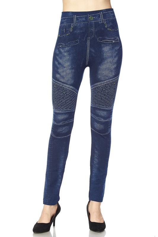 moto knit washed denim print leggings - by 2NE1 - available at rkcollections.myshopify.com -  - Leggings