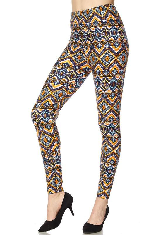 F481-2NE1-multi color diamond aztec print leggings-RK Collections Boutique