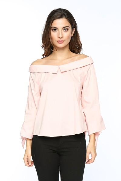 off the shoulder button down top - by Timing - available at rkcollections.myshopify.com -  - Tops-Off The Shoulder