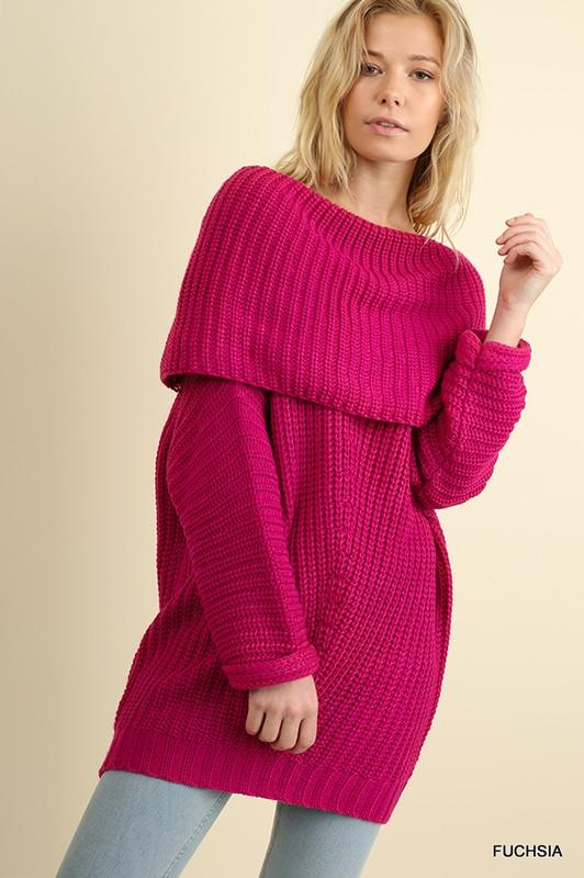 off the shoulder sweater (10 colors) - by Umgee - available at rkcollections.myshopify.com - Fuchsia / Large - Tops-Off The Shoulder