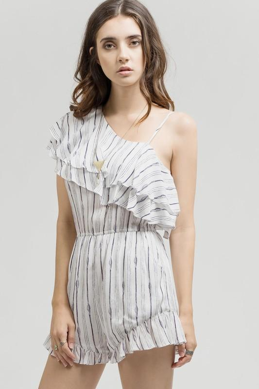 One Shoulder Spaghetti Strap Striped Romper - by Blu Pepper - available at rkcollections.myshopify.com -  - Romper