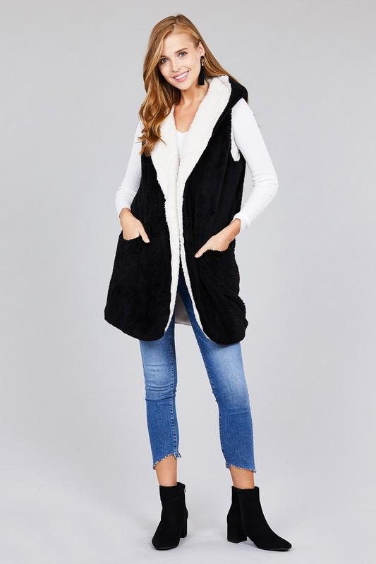 OPEN FRONT w/HOODIE FAUX FUR SOFT FLUFFY VEST - by Active Basic - available at rkcollections.myshopify.com -  - Tops-Vest