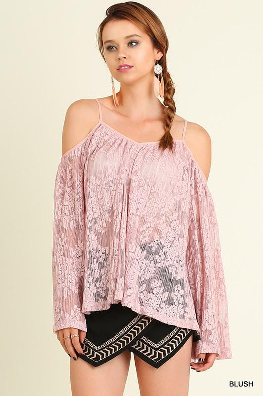 Open Shoulder Lace Top with Bell Sleeves - by Umgee - available at rkcollections.myshopify.com -  - Tops