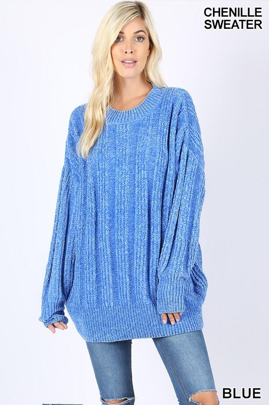 OVER SIZED CABLE CHENILLE SWEATER - by Zenana - available at rkcollections.myshopify.com -  - Tops-Sweater