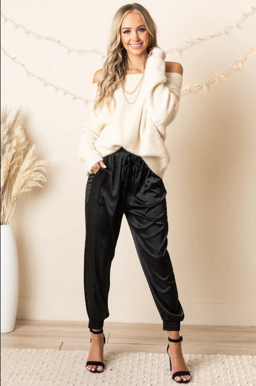 Satin Jogger Pants With Pockets