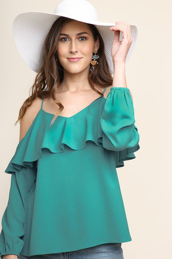 ruffle layered long sleeve cold shoulder blouse