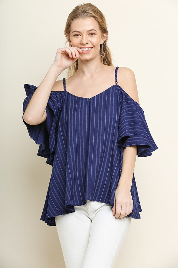 pinstripe cold shoulder flutter sleeve woven top