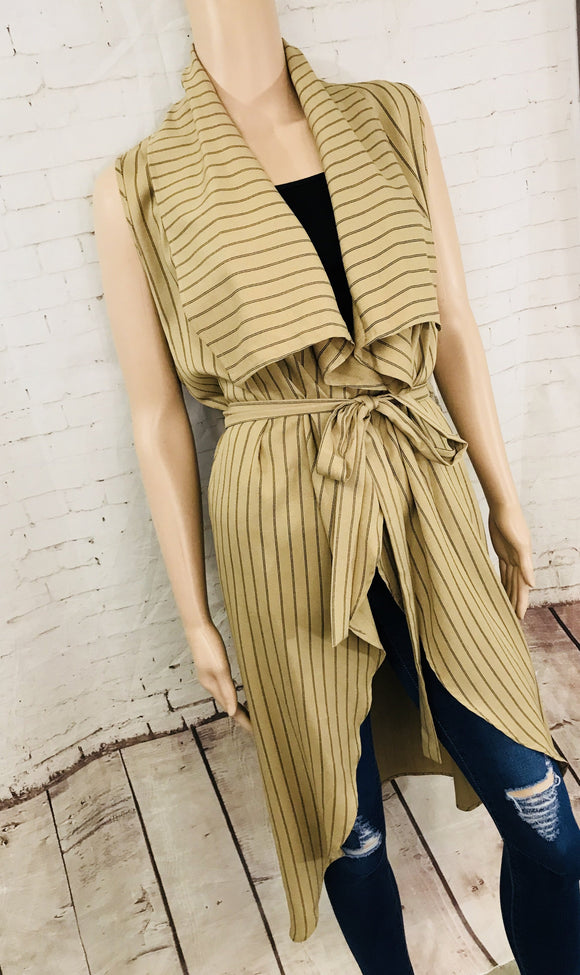 Pin Stripe Vest with Waist Tie - by Blu Pepper - available at rkcollections.myshopify.com -  - Tops-Vest