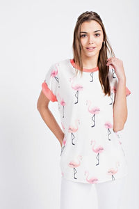 Pink Flamingo Contrast Top - by 12PM by Mon Ami - available at rkcollections.myshopify.com -  - Tops