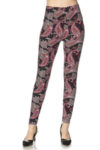 N123-2NE1-pink paisley print leggings-RK Collections Boutique