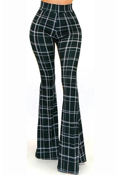 Plaid bell bottom Pant - by Got Style - available at rkcollections.myshopify.com -  - Pants
