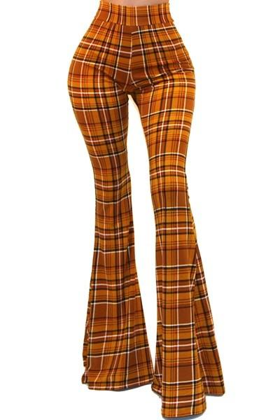 Plaid Bell Bottom Pants - by Got Style - available at rkcollections.myshopify.com -  - Pants