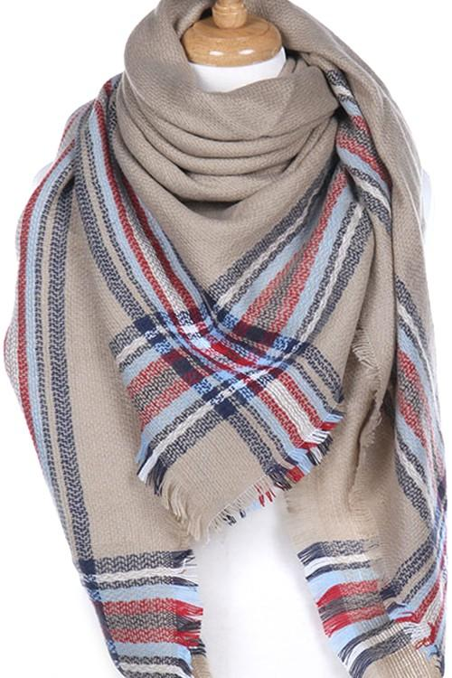 Plaid Border Blanket Scarf (More Colors) - by Night Queen - available at rkcollections.myshopify.com -  - Accessory:Scarf