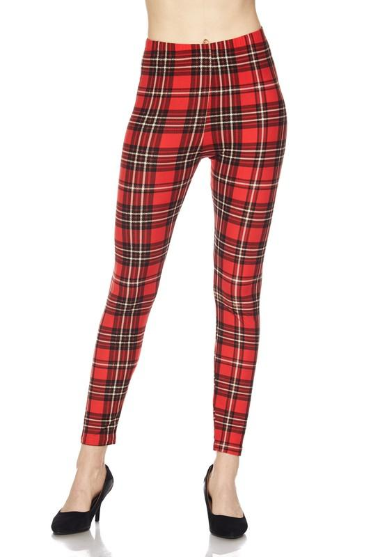 Plaid Brushed Ankle Leggings - by 2NE1 - available at rkcollections.myshopify.com -  - Leggings