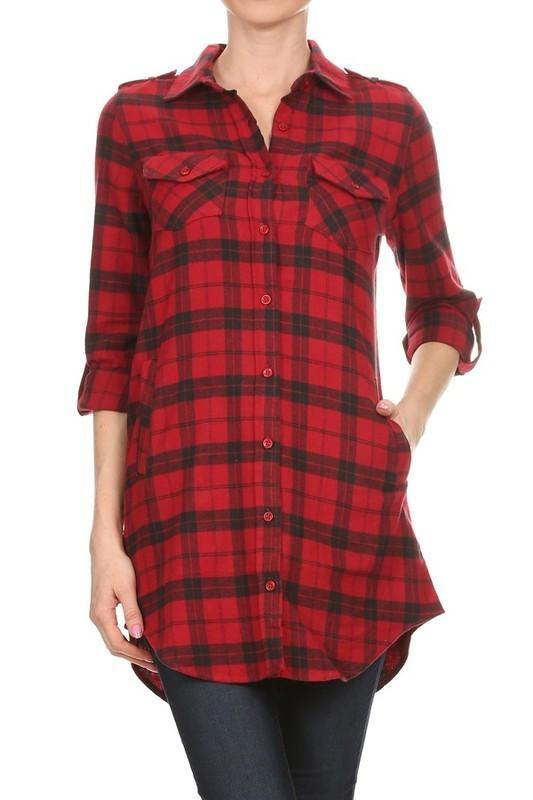 plaid button downt flannel - by May Blue - available at rkcollections.myshopify.com -  - Tops