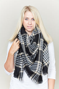 plaid check blanket scarf - by Lava Accessories - available at rkcollections.myshopify.com -  - Accessory:Scarf