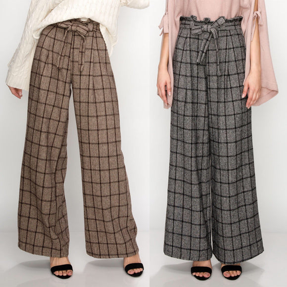 Plaid Paper Bag Wide Leg Pant - by Favlux - available at rkcollections.myshopify.com -  - Pants