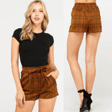 Plaid Shorts with Waist Tie Detail - by Love Tree - available at rkcollections.myshopify.com - Mustard / LARGE - Shorts