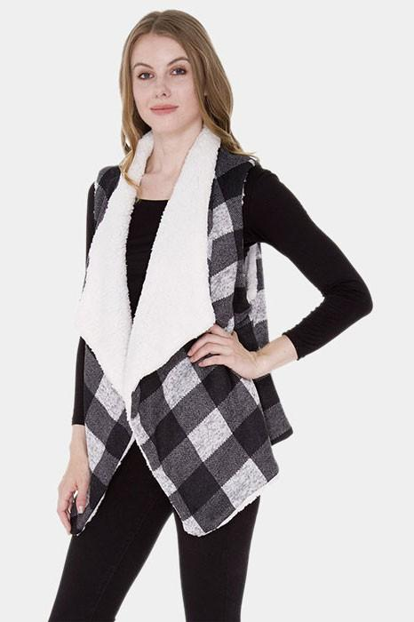Plaid vest with sherpa lining - by Wona Trading - available at rkcollections.myshopify.com - Black / ONE SIZE - Tops-Vest