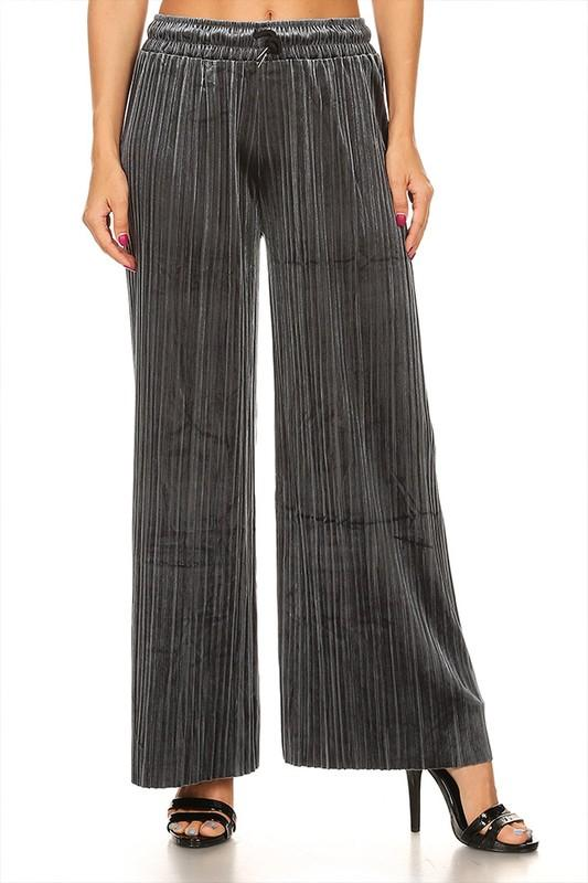 pleated velvet pants with waist tie - by Moa USA - available at rkcollections.myshopify.com -  - Pants