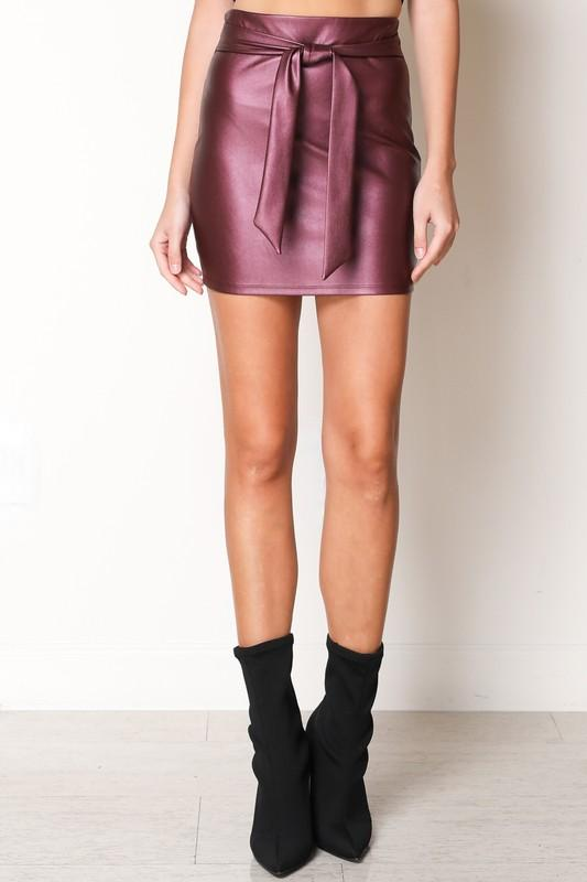 pleather skirt with waist tie (more colors) - by Blue Blush - available at rkcollections.myshopify.com -  - Skirts