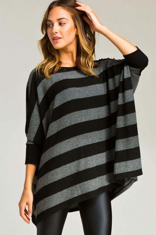 plush striped poncho tunic - by Cherish USA - available at rkcollections.myshopify.com - LARGE / Black - Tops
