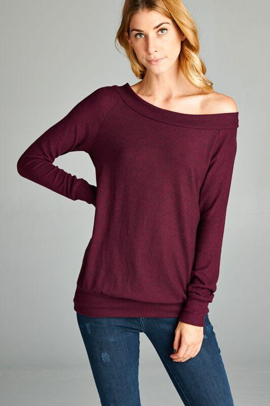 -Cherish USA-plush wide neck top-RK Collections Boutique
