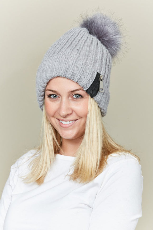 pom pom beanie with zipper detail - by Lava Accessories - available at rkcollections.myshopify.com -  - Accessory:Hat