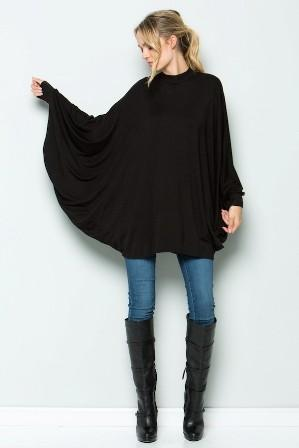 poncho long sleeve top - by Acting Pro - available at rkcollections.myshopify.com -  - Tops