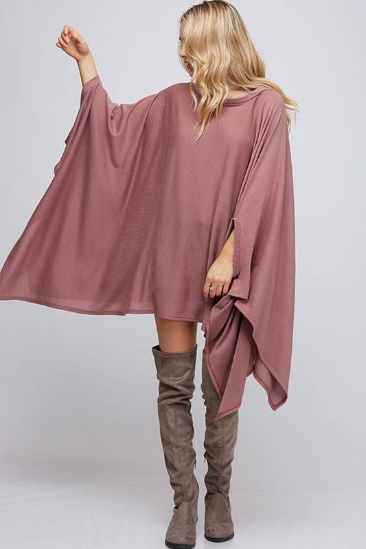 Poncho Style Knit Top - by Fantastic Fawn - available at rkcollections.myshopify.com -  - Tops-Sweater