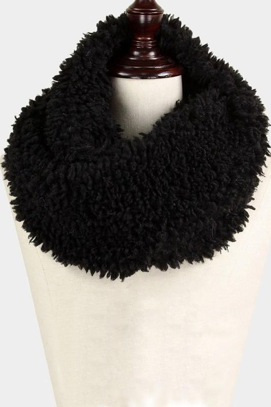 Poodle infinity scarf - by Wona Trading - available at rkcollections.myshopify.com - Black S9135 / ONE SIZE - Tops-Vest