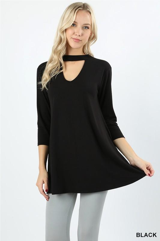 premium fabric 3/4 sleeve choker neck top - by Zenana - available at rkcollections.myshopify.com -  - Tops
