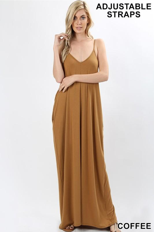 premium jersey v-neck maxi dress with pockets - - by Zenana - available at rkcollections.myshopify.com -  - Dress