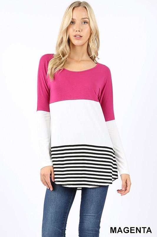 Premium long sleeve round neck color block top - by Cherish USA - available at rkcollections.myshopify.com - Magenta / LARGE - Tops-Long Sleeve