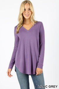 PREMIUM LONG SLEEVE V-NECK ROUND HEM TOP - by Zenana - available at rkcollections.myshopify.com -  - Tops-Long Sleeve