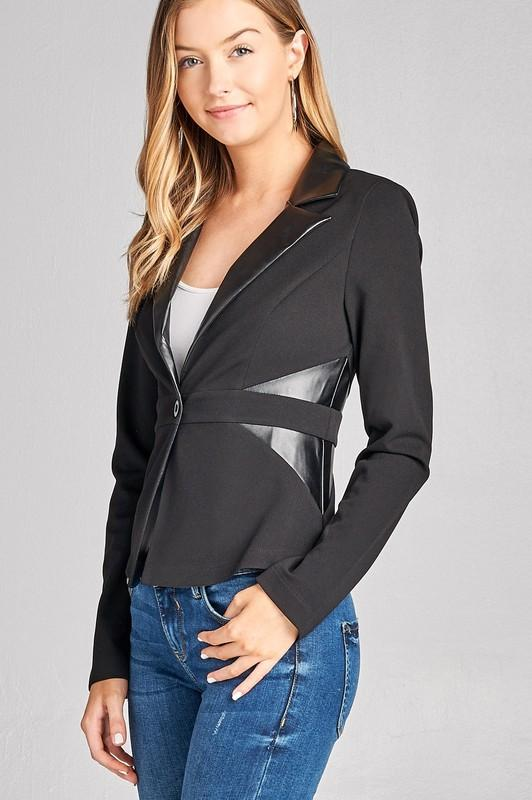 PU LABEL AND SIDE PU DETAIL BLAZER - by Active Basic - available at rkcollections.myshopify.com -  - Tops-Jacket