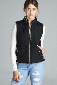 J1409-RE-S-Active USA-Quilted Vest With Suede Piping (More Colors)-RK Collections Boutique