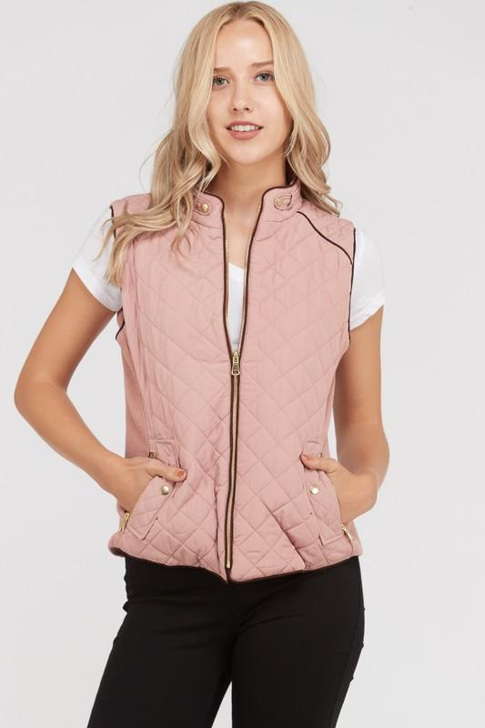 Quilted Zip Up Vest with Pockets - by Love Tree - available at rkcollections.myshopify.com -  - Tops-Vest