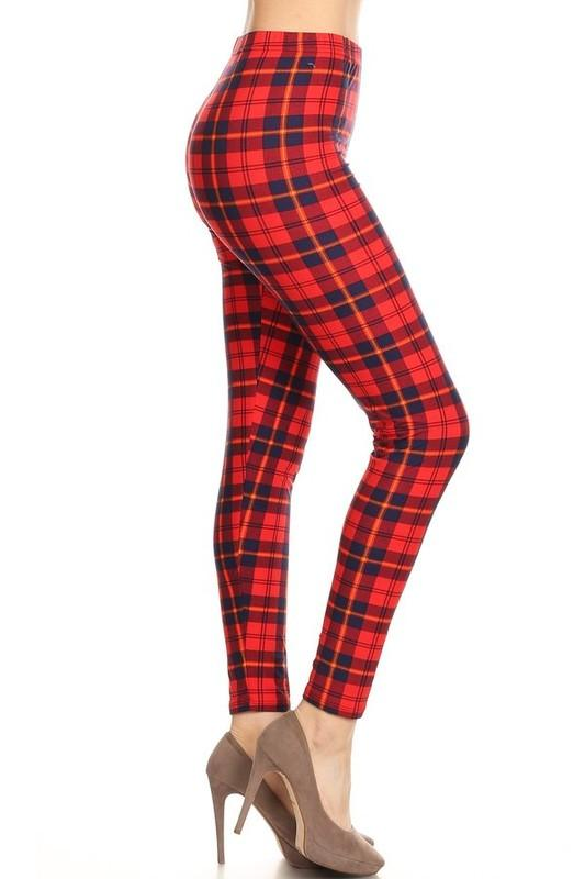 Red plaid leggings - by Red Ribbon - available at rkcollections.myshopify.com - ONE SIZE - Leggings