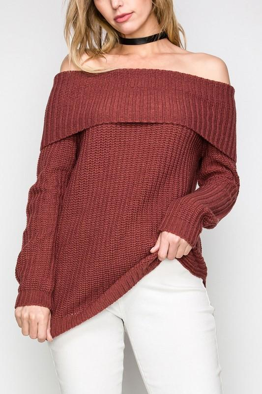 Ribbed Long Sleeve Off The Shoulder Sweater - by Cherish USA - available at rkcollections.myshopify.com -  - Tops-Off The Shoulder