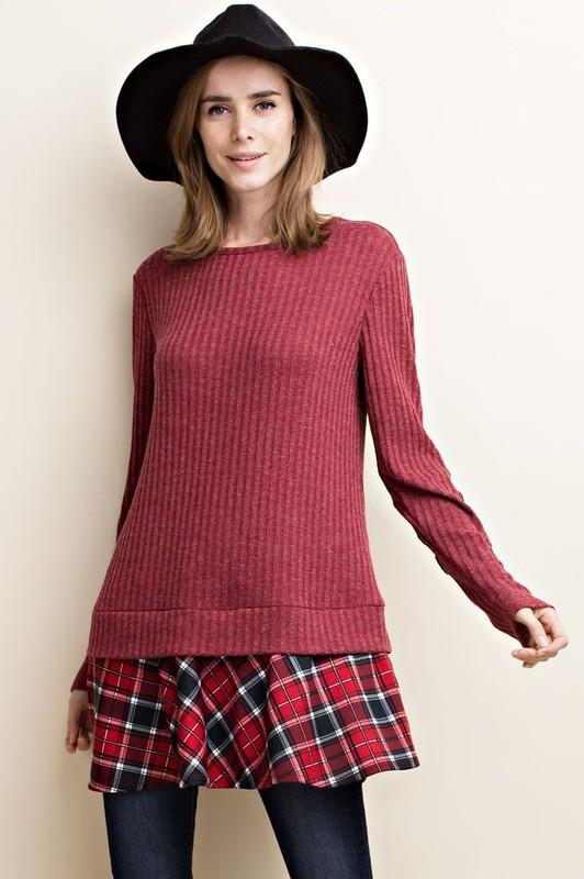 ribbed long sleeve tunic with elbow patches and flannel ruffle - by 143 Story - available at rkcollections.myshopify.com -  - Tops