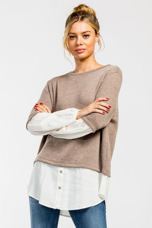 Round Neck Long Balloon Sleeve Top - by Cherish USA - available at rkcollections.myshopify.com -  - Tops-Sweater