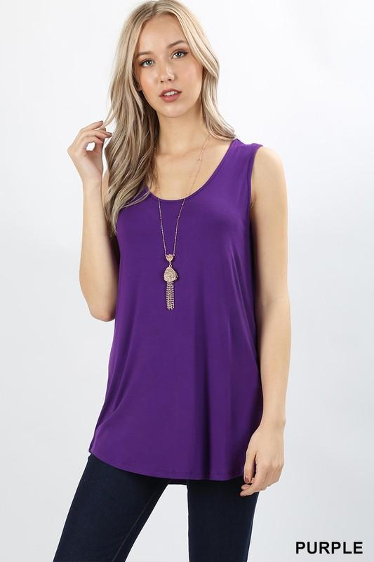 rounded hem scoop neck rayon tank (more colors) - by Zenana - available at rkcollections.myshopify.com -  - Tops