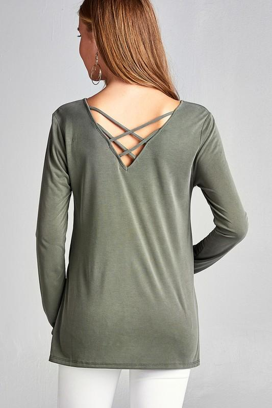 sandwashed modal jersey back criss cross long sleeve top - by Active Basic - available at rkcollections.myshopify.com - Olive / LARGE - Tops